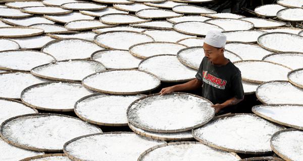 Pekerja melakukan proses pembuatan tepung aci di Sukaraja, Kabupaten Bogor, Jawa Barat, Kamis (17/6). Pemerintah mengklaim hasil pelaksanaan program Pemulihan Ekonomi Nasional (PEN) klaster dukungan UMKM membantu mayoritas penerima manfaat dapat bertahan selama pandemi COVID-19. Foto: Ricardo - JPNN.com